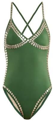 Norma Kamali Mio Studded Swimsuit - Womens - Green