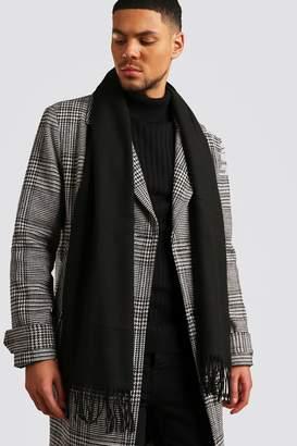 BoohoomanBoohooMAN Mens Black Plain Knitted Tassel Scarf, Black