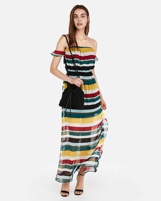 Express Striped Off The Shoulder Flutter Sleeve Maxi Dress