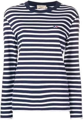 MAISON KITSUNÉ striped logo patch top