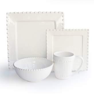American Atelier Bianca Bead 16-pc. Square Dinnerware Set