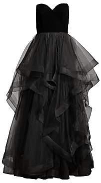 Basix Black Label Women's Strapless Velvet Cascade Tulle Gown