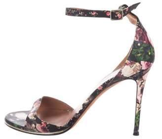 Givenchy Leather Floral Print Sandals Black Leather Floral Print Sandals