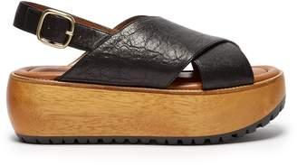 Marni Slingback leather flatform sandals