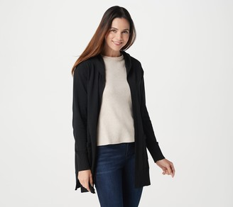 Isaac Mizrahi Live! Border Stitch Open Front Hooded Cardigan