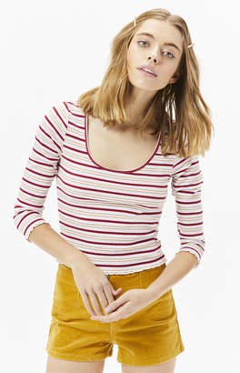 Proenza Schouler Basics By Pacsun Striped Love Lettuce Edge Long Sleeve Top