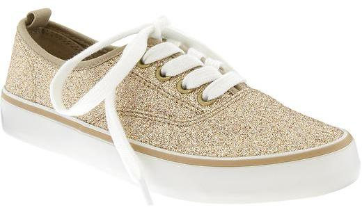 Old Navy Girls Glitter Canvas Sneakers