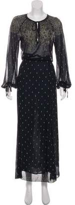 Etoile Isabel Marant Semi-Sheer Printed Silk Maxi Dress