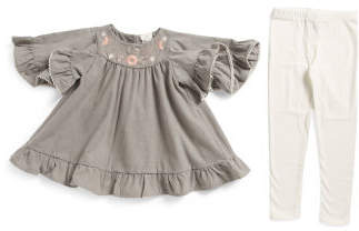 Toddler Girls 2pc Brushed Flannel Embroidered Ruffle Top