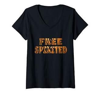 Womens Cute Free Spirited Tiger Stripes Born Wild Animal Print Gift V-Neck T-Shirt