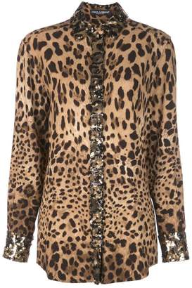 Dolce & Gabbana embellished leopard-print shirt