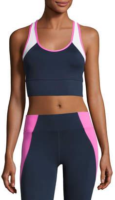 Heroine Sport Tread Colorblock Sports Bra, Blue/Pink