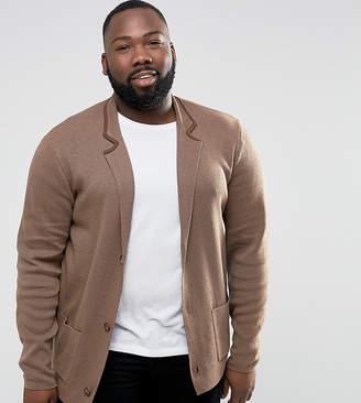 Asos Plus Knitted Blazer In Light Brown