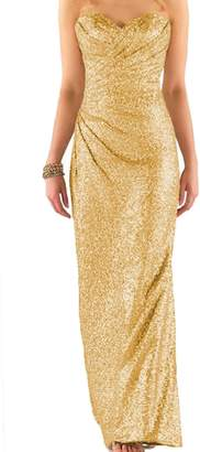 Cdress Women's Sequins Long Bridesmaid Dresses Sweetheart Wedding Eevning Prom Gown US