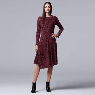 Vera Wang Women's Simply Vera Flocked Velvet Dress