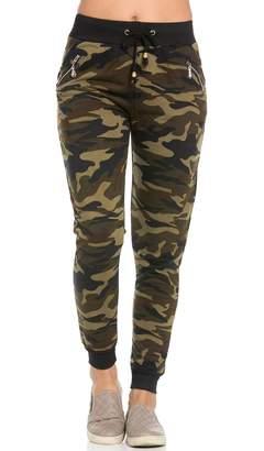 SOHO GLAM Zipper Detail Drawstring Camouflage Jogger Pants