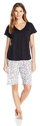 Karen Neuburger Women's KN Cool by Short Sleeve Pullover Bermuda Set