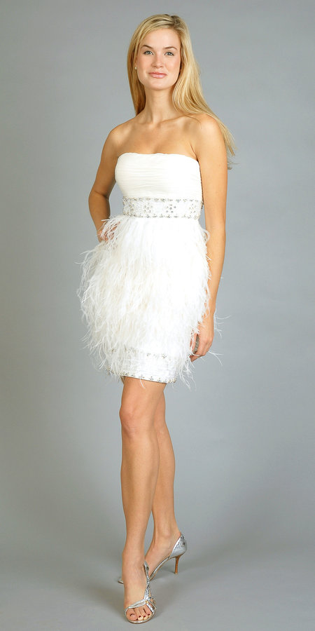 Ivory Feather Party Dresses by Sue Wong