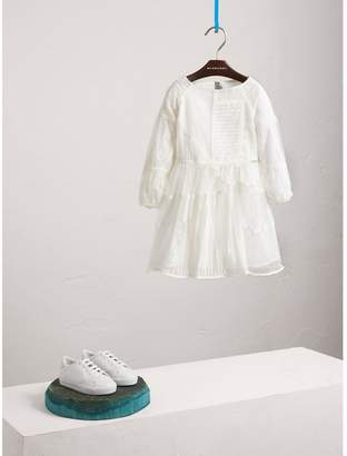 Burberry Puff-sleeve Panelled Embroidered Tulle Dress
