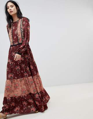 Maison Scotch block printed maxi dress
