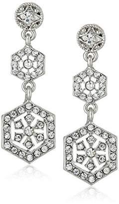 Downton Abbey Silver-Tone Glass Linear Post Drop Earrings
