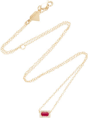 Alison Lou 14K Gold Ruby Diamond Necklace
