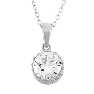 Tiara Lab-Created White Sapphire Sterling Silver Pendant Necklace