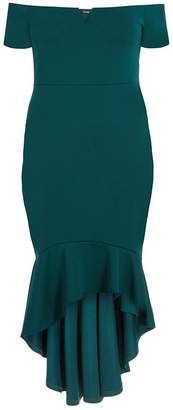 Quiz Curve Bottle Green Bardot V Bar Dip Hem Dress