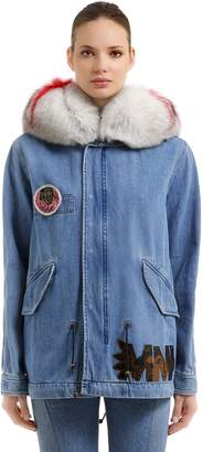 Mr & Mrs Italy Midi Canvas Parka W/ Fur & Patches
