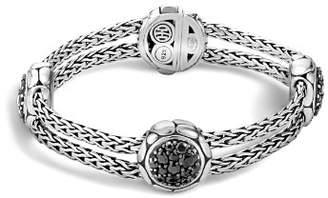 John Hardy Kali Sterling Silver Pure Lava Fire Four Station Bracelet with Black Sapphire