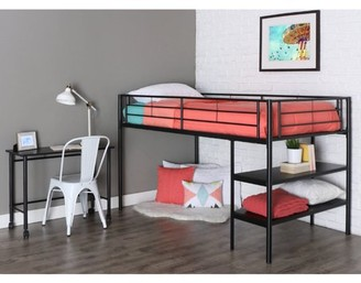 Walker Edison Twin Metal Loft Bed with Desk and Shelving - Black