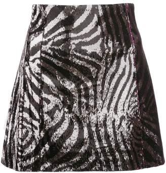 Halpern sequinned zebra print skirt