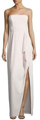 Halston Structured Stretch Crepe Column Gown, Primrose Pink