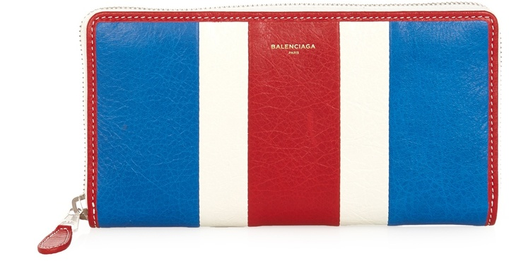 Balenciaga  BALENCIAGA Bazar multi-stripe grained-leather wallet