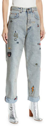 Gucci High-Waist Marble-Washed Straight-Leg Denim Jeans w/ Assorted Embroidery