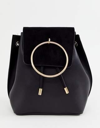 New Look ring detail backpack in black