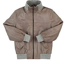 Nupkeet Leather Bomber Jacket - Gray