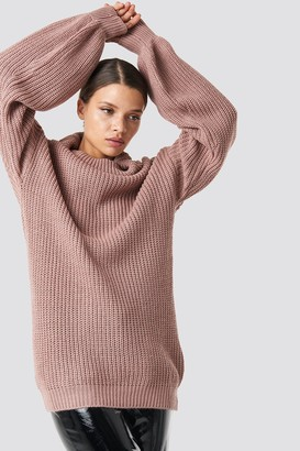 NA-KD Na Kd High Neck Oversized Knitted Sweater Dusty Pink