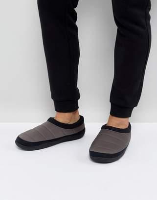 Asos DESIGN Slip On Slippers In Gray Nylon