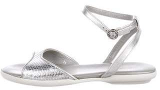 Hogan Metallic Leather Sandals