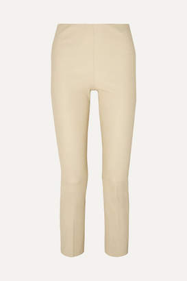 By Malene Birger Florentina Cropped Leather Straight-leg Pants - Cream