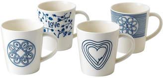 ED Ellen Degeneres Crafted by Royal Doulton Blue Love Mug, Set of 4