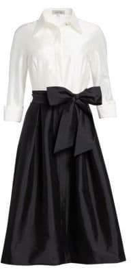 Two-Tone Collared Taffeta Gown