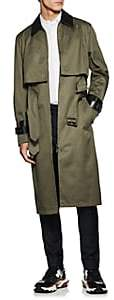 Valentino MEN'S COTTON DOUBLE-BELTED TRENCH COAT - OLIVE SIZE 54 EU