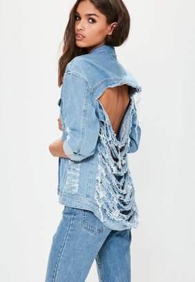 Missguided Light Blue Back Shredded Denim Jacket, Blue