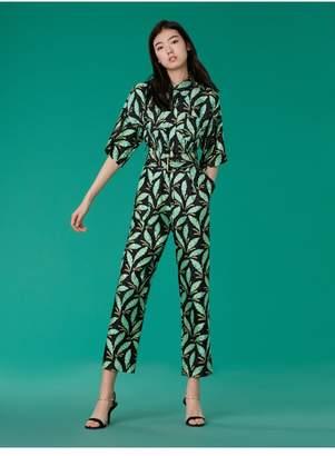 Diane von Furstenberg Short-Sleeve Pocket Jumpsuit