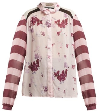 Preen Line Grace Panelled Chiffon Blouse - Womens - Pink Multi