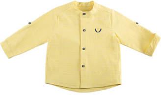 Carrera Pili Check Mandarin-Collar Shirt, Yellow, Size 12M-3Y