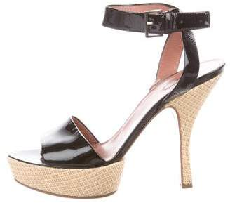 Alaia Patent Leather Platform Sandals