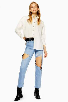 Topshop Bleach Exposed Thigh Ripped Straight Leg Jeans